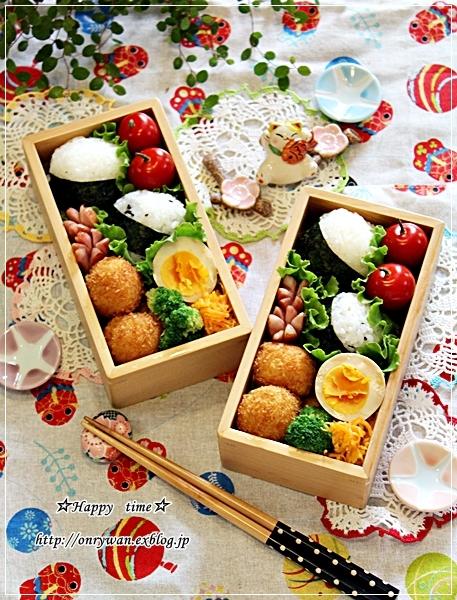 おにぎり弁当と桃で酵母作り♪_f0348032_18121817.jpg