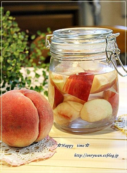 おにぎり弁当と桃で酵母作り♪_f0348032_18122857.jpg