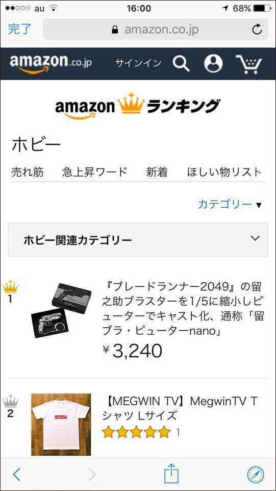 Amazonのホビー部門の人気度ランキングで1位_a0077842_16240388.jpg