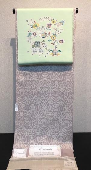 インドネシア黄金繭・クリキュラ紬小紋+岡重象唐花染め帯_f0181251_1635644.jpg