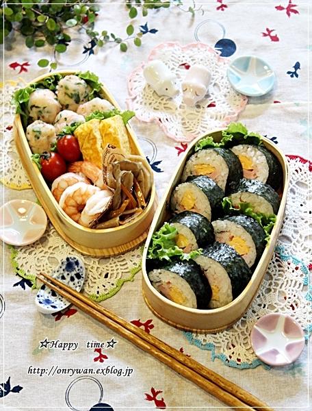 海苔巻き弁当とスライスチーズでチーズケーキ♪_f0348032_18593309.jpg