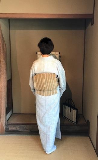 能登上布にからむしの帯、素敵な久留米絣の日傘のお客様_f0181251_1410163.jpg
