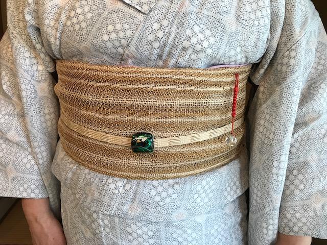 能登上布にからむしの帯、素敵な久留米絣の日傘のお客様_f0181251_1527647.jpg
