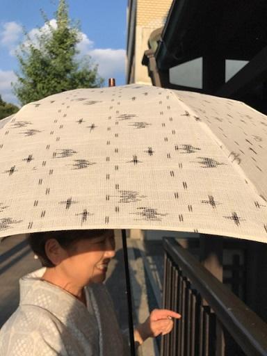 能登上布にからむしの帯、素敵な久留米絣の日傘のお客様_f0181251_15284014.jpg