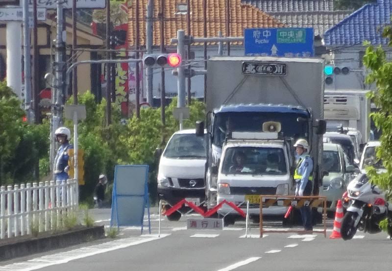 府中街道でも防災訓練に伴う交通規制_f0059673_19325528.jpg
