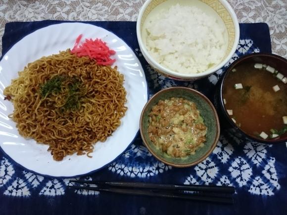 9/2 サンヨー食品サッポロ一番ソースやきそば + オリジナル納豆丼_b0042308_12292103.jpg