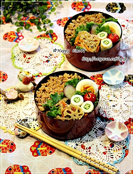 段々鶏そぼろ弁当と今日のワンコ♪_f0348032_18192831.jpg