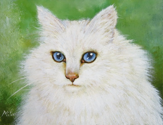 白猫の似顔絵油絵_b0089338_22461637.jpg