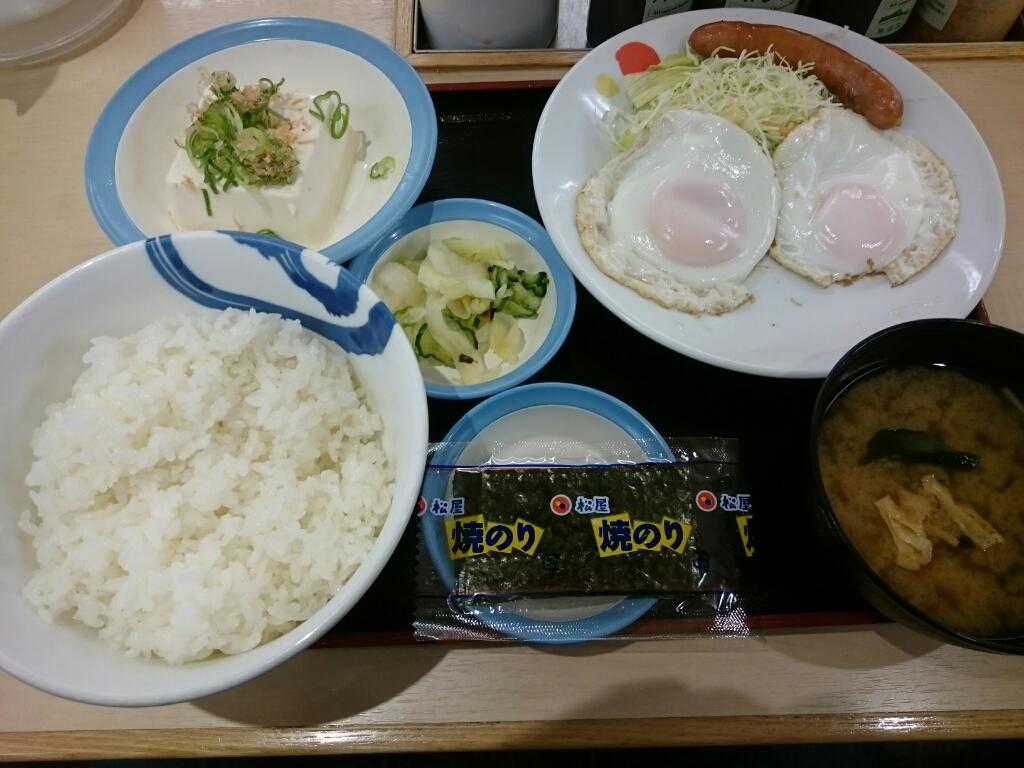 9/17  ソーセージダブルエッグ定食ライス大盛¥510@松屋_b0042308_06522281.jpg