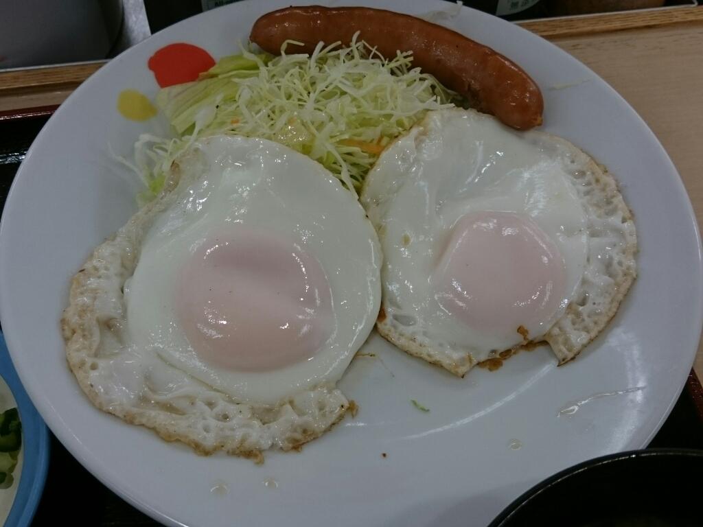 9/17  ソーセージダブルエッグ定食ライス大盛¥510@松屋_b0042308_06522402.jpg