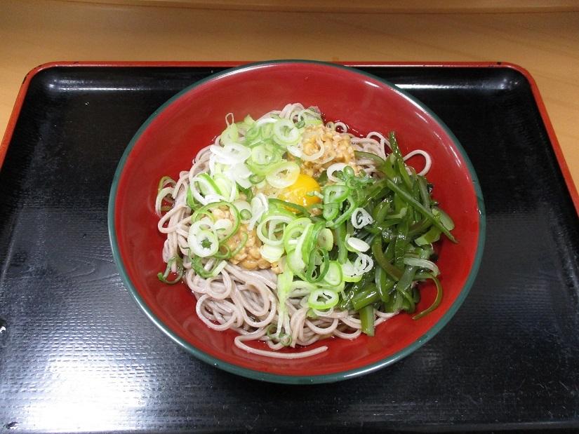 207杯目:富士そば小滝橋店で茎わかめと納豆の冷やしそば_f0339637_07541707.jpg