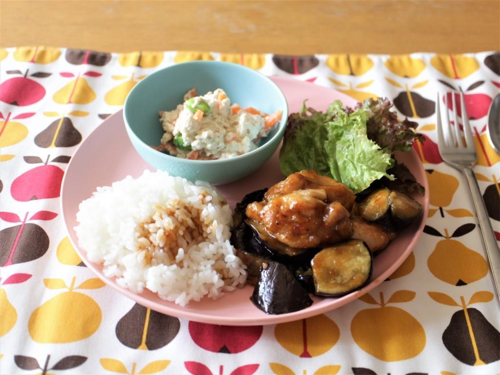 鶏肉となすのピリ辛炒めプレート_f0220354_08563422.jpg