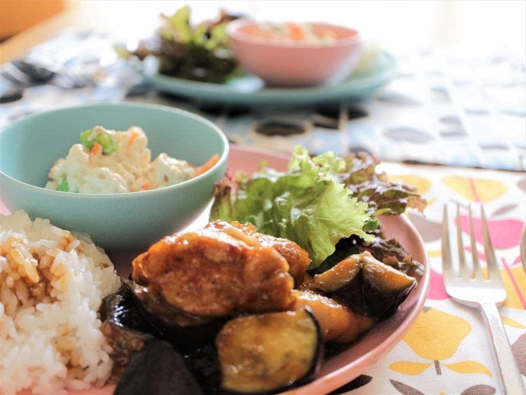 鶏肉となすのピリ辛炒めプレート_f0220354_08564586.jpg