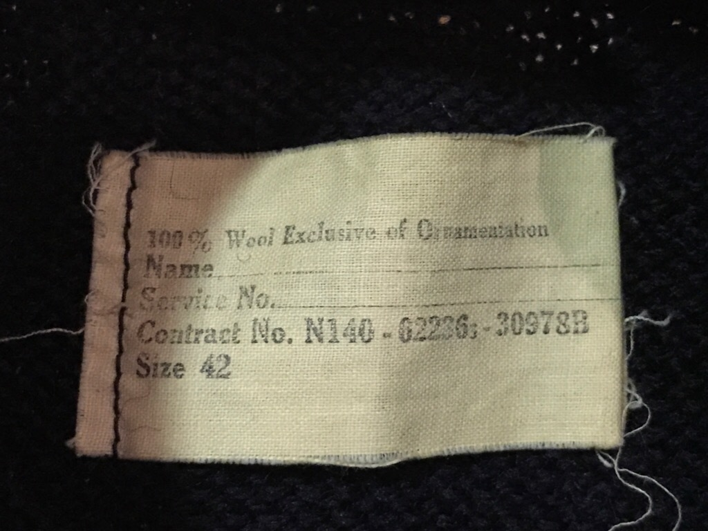 神戸店9/27(水)冬ヴィンテージ入荷! #3  US.Navy Part1!  MidNight Color Wool Item!!!_c0078587_16565679.jpg