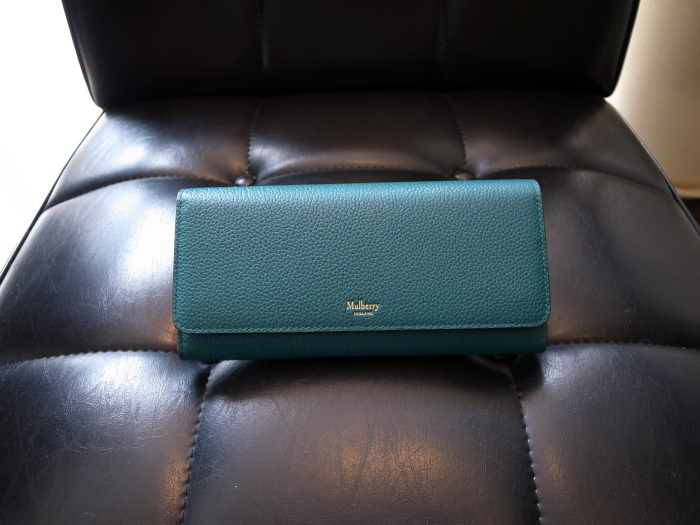 DETAIL MULBERRY ENGLAND CONTINENTAL WALLET OCEAN GREEN_f0111683_12552574.jpg