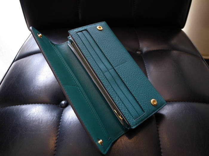 DETAIL MULBERRY ENGLAND CONTINENTAL WALLET OCEAN GREEN_f0111683_12555729.jpg