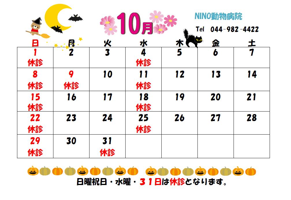 10月の診療日のお知らせ☆_e0288670_15034102.png