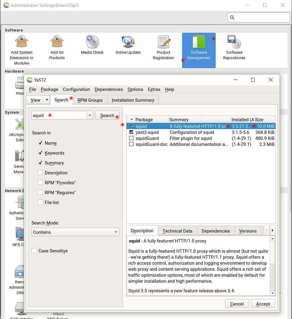 SUSE Linux 12 (SLES12 sp3) で YaST から Squid3 を導入、設定_a0056607_12252656.jpg