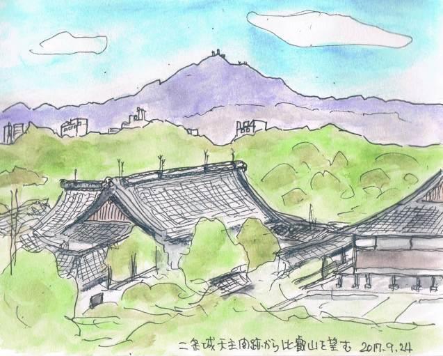 二条城の天守閣跡から比叡山を望む_e0232277_18242862.jpg