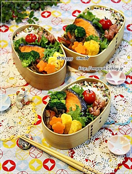 焼き鮭弁当と今日のわんこ♪_f0348032_18240611.jpg