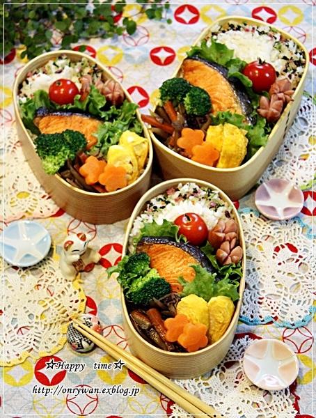 焼き鮭弁当と今日のわんこ♪_f0348032_18241857.jpg