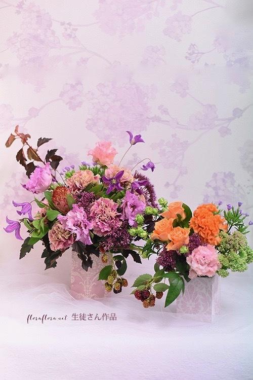 8月レッスン*輸入壁紙でつくるフラワーベースに 夏色秋色アレンジ*フローラフローラちいさな花の教室 * 東京目黒不動前フラワースクール_a0115684_16411605.jpg
