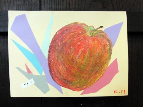 オイルパステル画 ~ 林檎の量感画 ~_e0222340_1555055.jpg