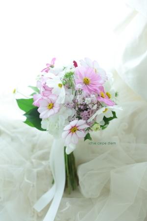 セミキャスケードブーケ コスモスのブーケ、八芳園さまへ  翌日に押し花に_a0042928_14251415.jpg