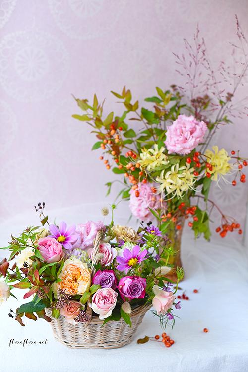 9月レッスン*初秋の花達 花瓶とバスケットのコンビネーションアレンジ**フローラフローラちいさな花の教室*東京目黒不動前フラワースクール_a0115684_01453237.jpg
