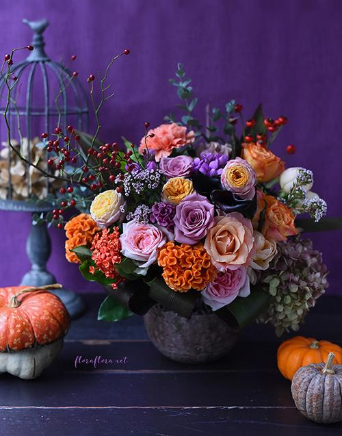 10月レッスン*カボチャがなくてもカボチャを感じるハロウィンアレンジメント*フローラフローラちいさな花の教室*東京目黒不動前フラワースクール_a0115684_01264695.jpg