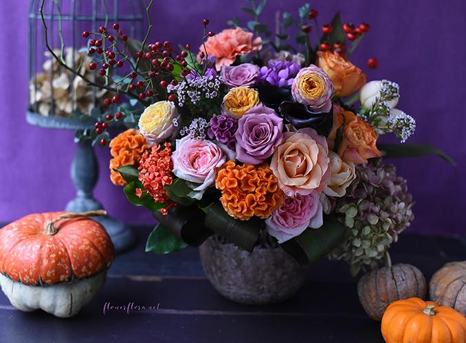 10月レッスン*カボチャがなくてもカボチャを感じるハロウィンアレンジメント*フローラフローラちいさな花の教室*東京目黒不動前フラワースクール_a0115684_01264924.jpg