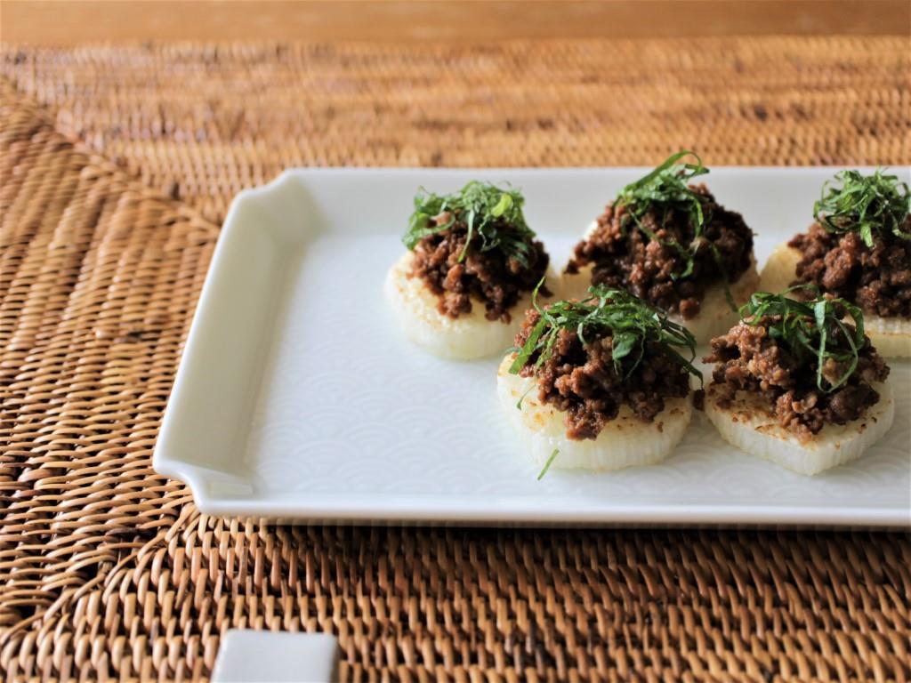 焼き長芋の肉味噌のせ_f0220354_13395631.jpg
