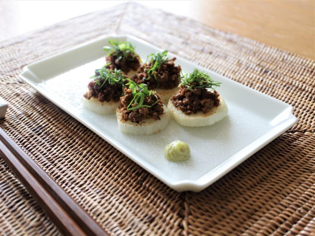 焼き長芋の肉味噌のせ_f0220354_13395977.jpg