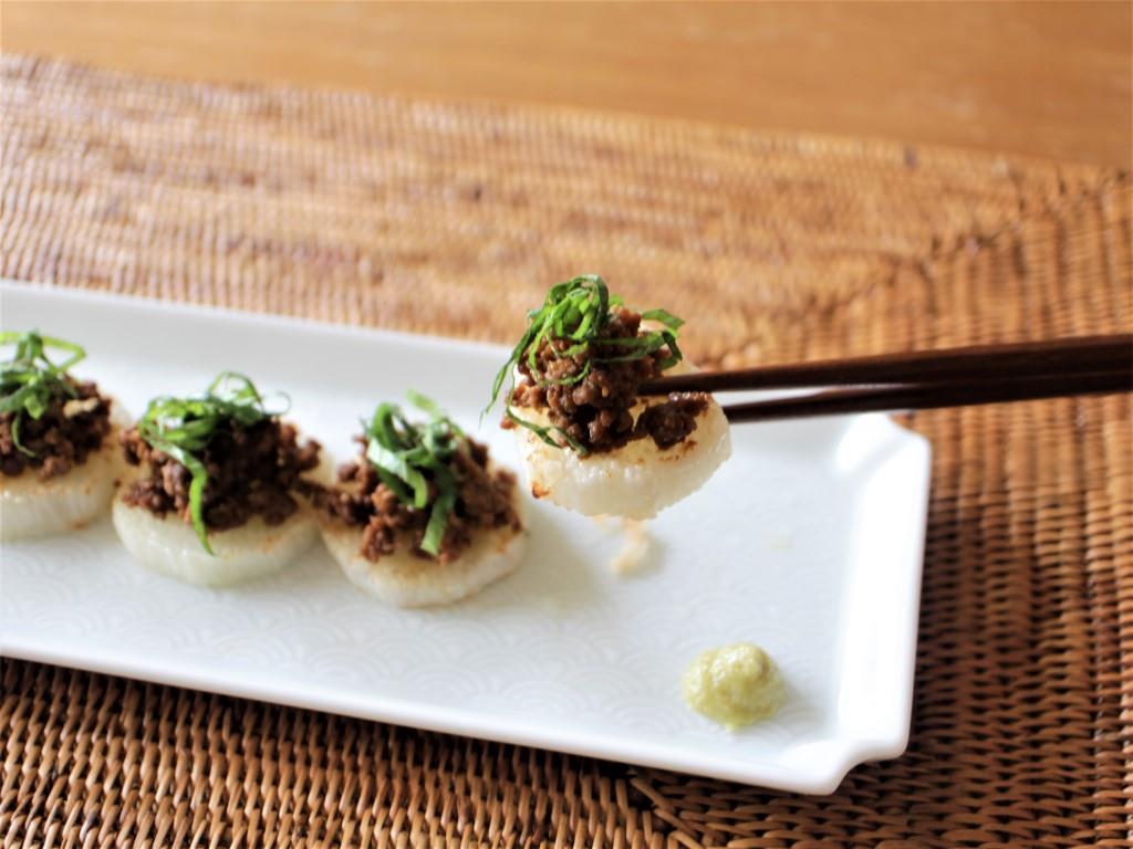焼き長芋の肉味噌のせ_f0220354_13401174.jpg