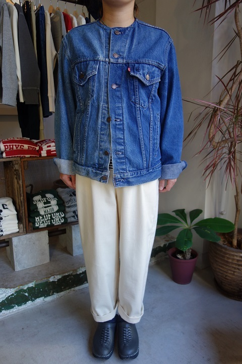 MADE by sunny side up : remake no collar denim jacket_a0234452_21100750.jpg