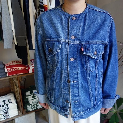 MADE by sunny side up : remake no collar denim jacket_a0234452_21115973.jpg