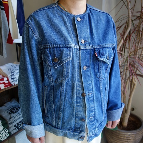 MADE by sunny side up : remake no collar denim jacket_a0234452_21123061.jpg