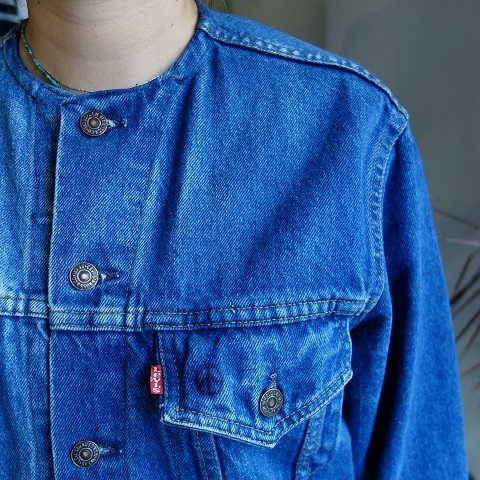 MADE by sunny side up : remake no collar denim jacket_a0234452_21130045.jpg