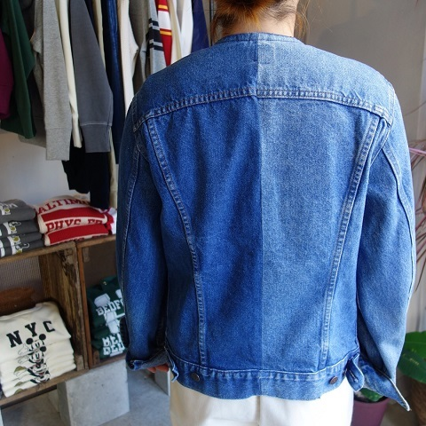 MADE by sunny side up : remake no collar denim jacket_a0234452_21143338.jpg