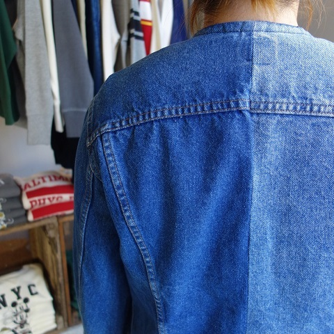 MADE by sunny side up : remake no collar denim jacket_a0234452_21153395.jpg