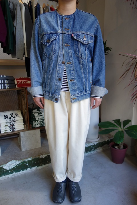 MADE by sunny side up : remake no collar denim jacket_a0234452_21160396.jpg