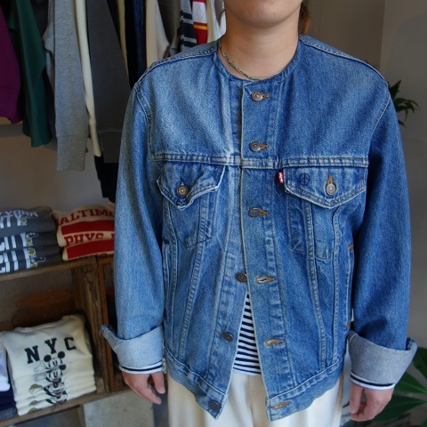 MADE by sunny side up : remake no collar denim jacket_a0234452_21175997.jpg