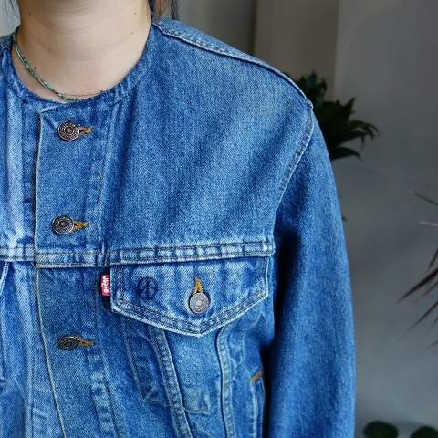 MADE by sunny side up : remake no collar denim jacket_a0234452_21180518.jpg