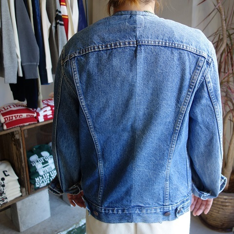 MADE by sunny side up : remake no collar denim jacket_a0234452_21181045.jpg