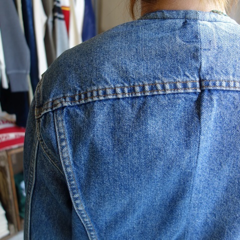 MADE by sunny side up : remake no collar denim jacket_a0234452_21181697.jpg