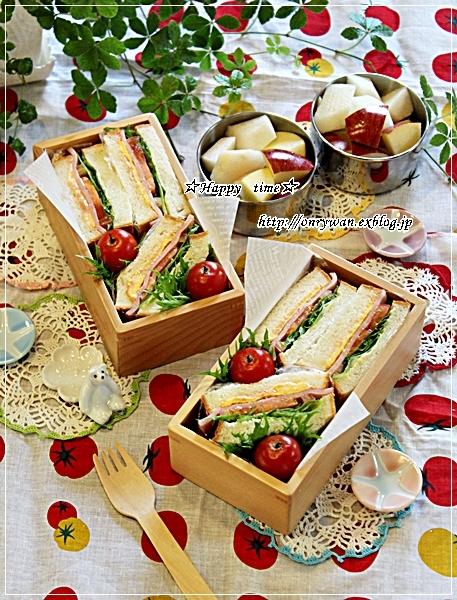 角食パンで普通のミックスサンド弁当♪_f0348032_17544843.jpg