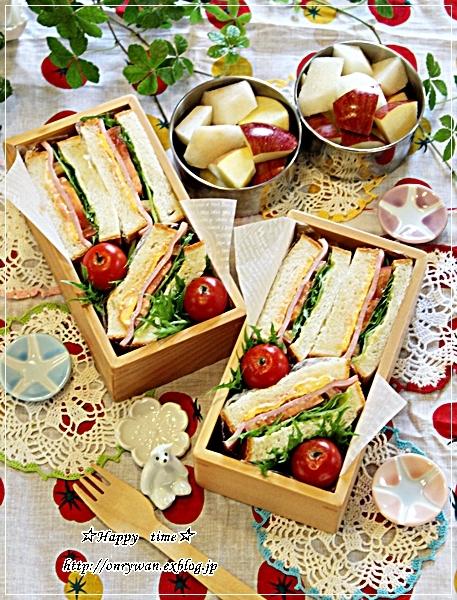 角食パンで普通のミックスサンド弁当♪_f0348032_17545986.jpg