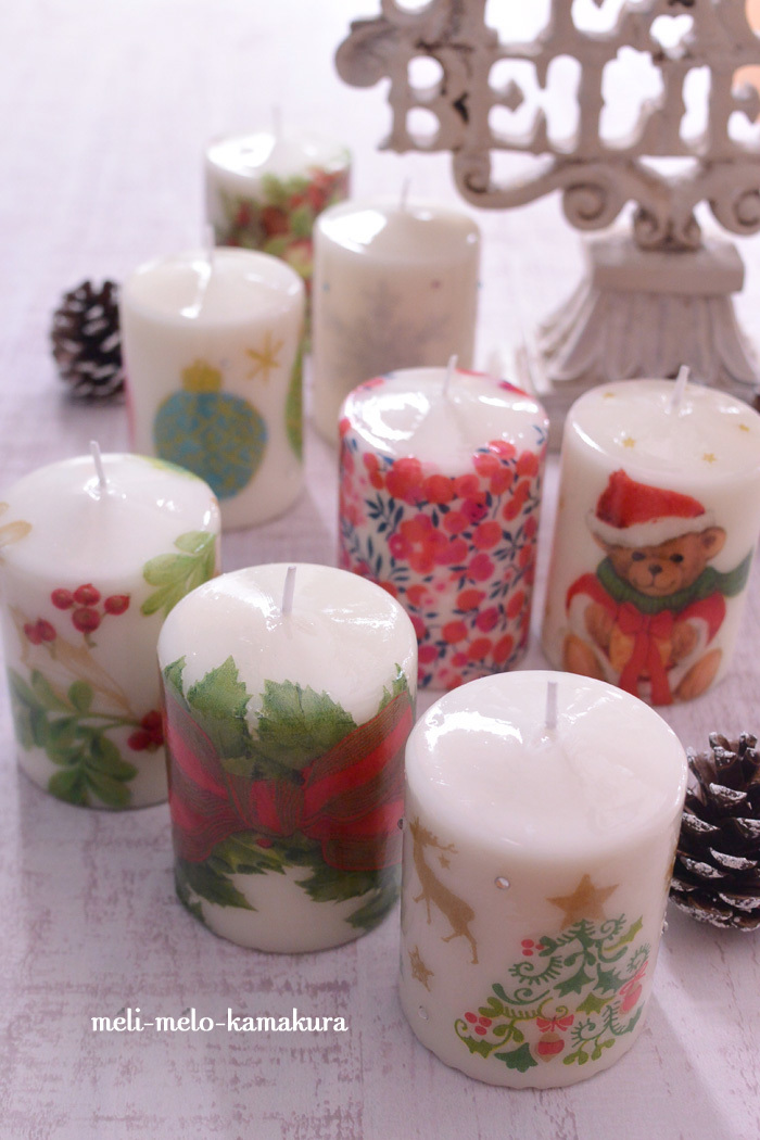 ◆デコパージュ*クリスマスキャンドル続々作製中♪_f0251032_21354149.jpg