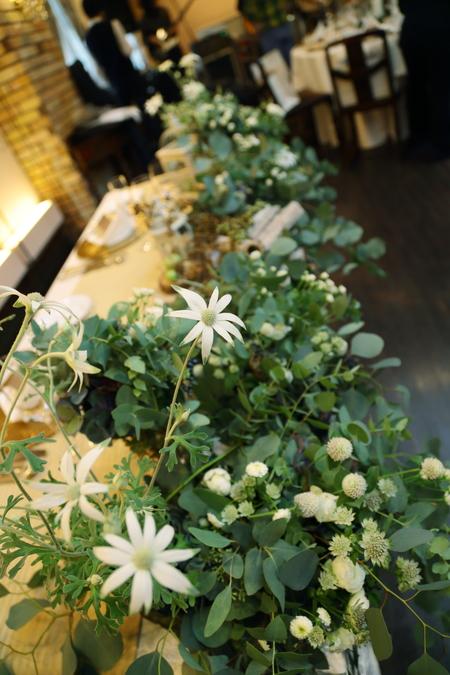 秋の装花 ユーカリとフランネルフラワー、切り株とキャンドル、ナチュラルウェディングの一日に_a0042928_12194992.jpg