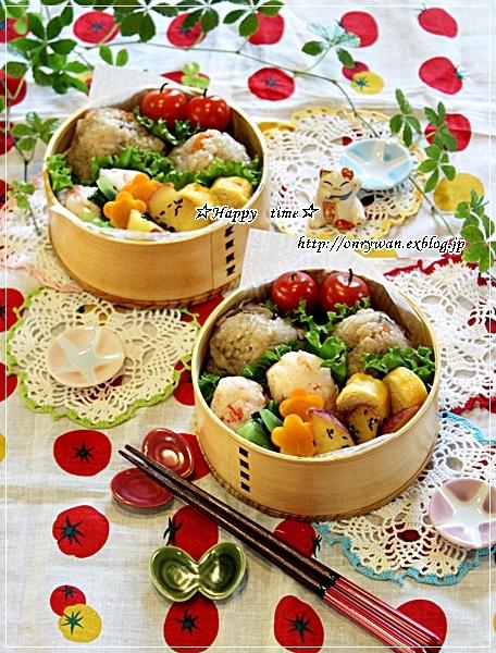 炊き込みごはんおむすび弁当と実家の収穫物と我が家の収穫物♪_f0348032_18054228.jpg
